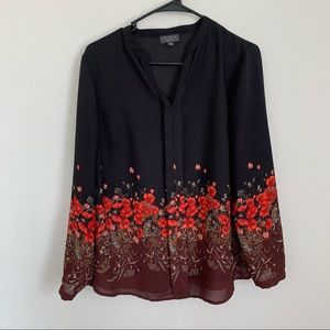 The Limited Black Floral Long Sleeve Blouse